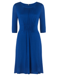 J1GSAW Blue Ruche Front Sleek Jersey Dress - Size Small to Large