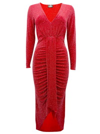 Wonderful RED Long Sleeve Metallic Bodycon Dress - Size 6 to 14