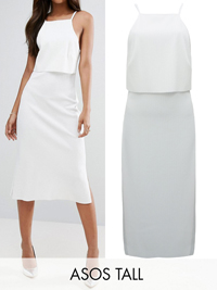 ASOS Tall CREAM Rib Midi Dress with Crop Top Detail - Size 8 to 20