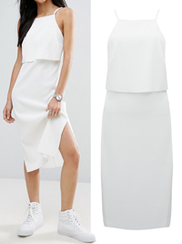 ASOS CREAM Rib Midi Dress with Crop Top Detail - Size 4 to 18