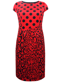 Marina Kaneva RED Multi Print Cap Sleeve Shift Dress - Size 10 to 20
