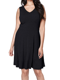SimplyBe Black Sleeveless Jersey Skater Tunic Dress - Plus Size 16 to 32
