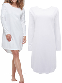 Cloth&Co WHITE Organic Cotton Long Sleeve Curved Hem Dress - Size 10 to 16 (XSmall to Large)