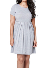 SimplyBe GREY Short Sleeve Jersey Babydoll Dress - Plus Size 12 to 32