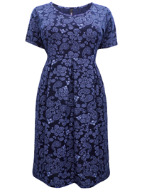 Ivans NAVY Paisley Print Jersey Midi Dress - Plus Size 16 to 34/36