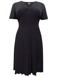 Damart BLACK V-Neck Pleated Midi Dress - Size 10 to 28