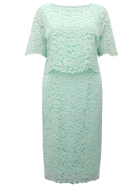 Jacques V3RT MINT Floral Lace Overlayer Shift Dress - Size 8 to 24