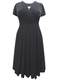 Mia Moda BLACK Mock Wrap Pleated Midi Dress - Plus Size 14 to 22