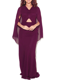 VLabel PLUM Cut Out Cape Maxi Dress - Size 8 to 16
