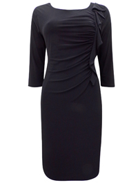 BLACK Frill Side Midi Shift Dress - Size 10 to 14 (Small to Large)