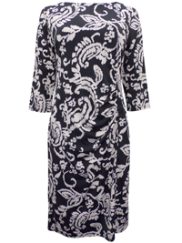 Zuri BLACK Printed 3/4 Sleeve Shift Dress - Size 12 to 18