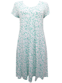First Avenue GREEN Floral Print Pleated Jersey Dress - Size 14 to 20