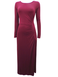 PureCollection BURGUNDY Ruched Side Long Sleeve Maxi Dress - Size 10 to 20