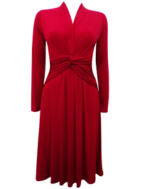 PureCollection RED Twist Front Jersey Midi Dress - Size 8 to 18