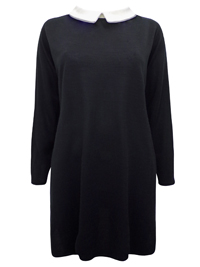 Quiz BLACK Contrast Collar Long Sleeve Tunic Dress - Plus Size 18 to 26