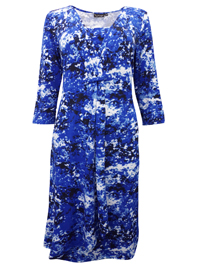 Cellbes BLUE Tab Front 3/4 Sleeve Printed Dress - Size 8/10 to 16/18