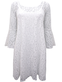 HappyHolly OFF-WHITE Overlaid Lace Flared Sleeve Swing Dress - Size 6/8 to 14/16