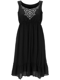 Cellbes BLACK Sleeveless Embroidered Panelled Hem Dress - Plus Size 16/18 to 36/38