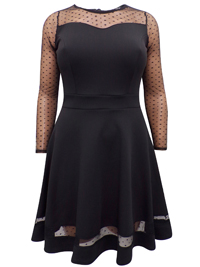 Quiz BLACK Polka Dot Lace Panelled Skater Dress - Plus Size 18 to 26