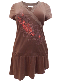 Taillissime BROWN Cotton Rich Embroidered Drop Hem Dress - Plus Size 14/16 to 30/32
