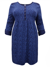 Sheego NAVY Pure Cotton Floral Print Roll Sleeve Dress - Plus Size 14 to 32 (40 to 58)