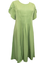 Gunit Fashions LIME Pleated Front Short Sleeve Midi Dress - Plus Size 12 to 26