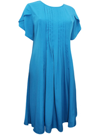 Gunit Fashions BLUE Pleated Front Short Sleeve Midi Dress - Size 10 to 26