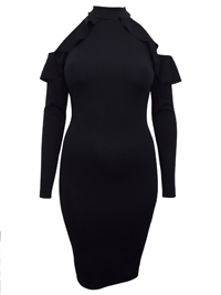Missguided BLACK Frilled Cold Shoulder Midi Dress - Plus Size 16 to 24