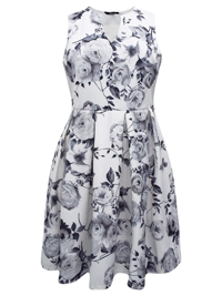 Y0URS WHITE Floral Print Fit & Flare Dress - Plus Size 16 to 30/32