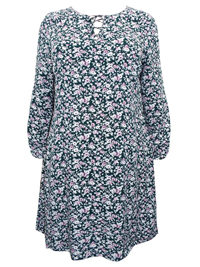 Cellbes GREEN Floral Print Lace Up Swing Tunic Dress - Plus Size 16/18 too 28/30