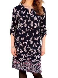 Cellbes NAVY Border Print Roll Sleeve Tunic Dress - Plus Size 12/14 to 24/26