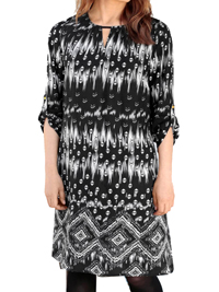 Cellbes BLACK Border Print Roll Sleeve Tunic Dress - Plus Size 16/18 to 24/26