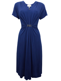 Beales BLUE V-Neck Bar Front Midi Dress - Size 10 to 20