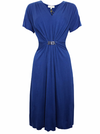 First Avenue BLUE V-Neck Bar Front Midi Dress - Size 12 to 20