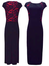 Grace BLACK Lace Panelled Maxi Dress - Plus Size 14 to 32