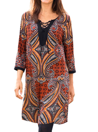 Cellbes RUST Printed Lace-Up Tunic Dress - Size 12/14 to 20/22 (38/40 to 46/48)
