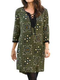 Cellbes GREEN Printed Lace-Up Tunic Dress - Size 12/14 to 20/22 (38/40 to 46/48)