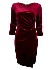D3benhams WINE Velvet Wrap Waist Dress - Size 10 to 16