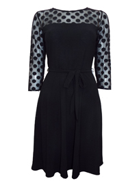 D3benhams BLACK Spot Mesh Yoke Belted Dress - Plus Size 12 to 20