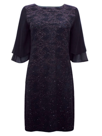 D3benhams BLACK Glitter Frill Sleeves Knee Length Petite Dress - Size 6 to 18