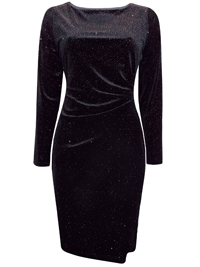 D3benhams BLACK Sparkle Velvet Long Sleeves Wrap Waist Dress - Size 6 to 18