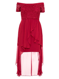 Quiz BERRY RED Curve Glitter Lace Bodice Extreme Hem Dress - Size 16 to 26