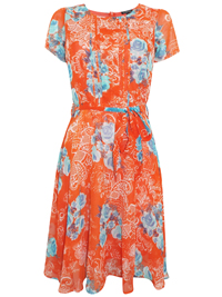 First Avenue ORANGE Pleated Palm Print Belted Dress - Size 10 to 20