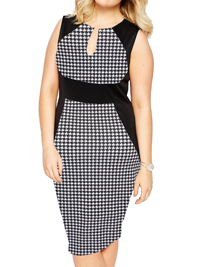 Praslin BLACK Houndstooth Curvy Contrast Panel Illusion Pencil Dress - Plus Size 16 to 26
