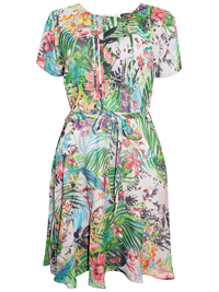 First Avenue GREEN Pleated Palm Print Belted Dress - Size 10 to 20