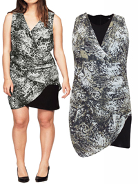 Ellos GREY Printed Mock Wrap Shift Dress - Size 12 to 18 (38 to 44)