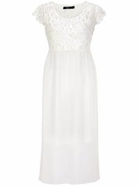 Ellos CREAM Floral Lace Chiffon Dress - Size 8 to 24 (34 to 50)