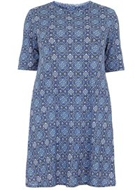 Amy K. BLUE Tile Print Half Sleeve Dress - Plus Size 16 to 26