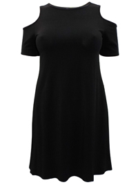 Amy K. BLACK Cold Shoulder Swing Dress - Plus Size 16 to 26