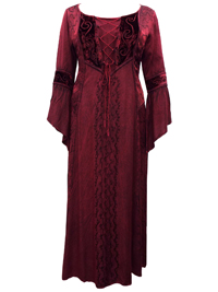 Eaonplus BURGUNDY Dark Seduction Rayon Velvet Lace-Up Corset Dress Gown - Plus Size 18 to 32